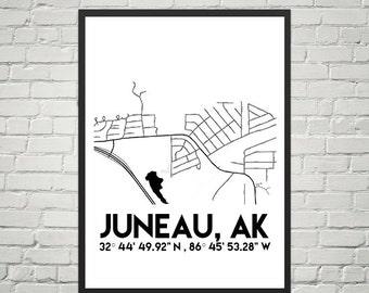 Map Poster of Juneau, Alaska (Instant Download)