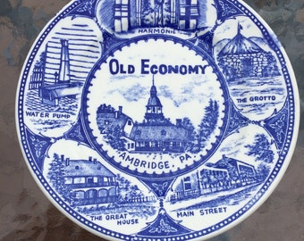 Old Economy Ambridge Pennsylvania  Decorative Blue Plate