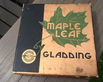 Vintage Gladding Maple Leaf Fly Fishing Line 2 Piece Cardboard Box