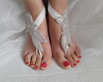 rhinestone,silver, wedding sandals,bridal anklet,beach sandals,, free shipping!