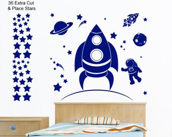 Astronaut, Spaceship, Planet, Moon, Rocket, Stars - Boys Art Vinyl Space Wall Sticker with 36 Extra Cut & Place Stars - by Rubybloom Designs