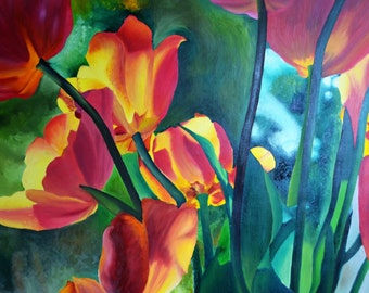 Tulips - Original Oil Painting Glycee Print