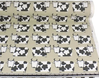 Cows Taupe Grey White 100% Cotton High Quality Fabric Material *2 Sizes*