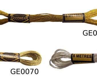 6 x 100% Cotton Embroidery Thread 8 Metre Skeins Metallics *3 Colours*