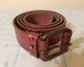 "Boho Belt - Vintage Leather Belt - Medium Leather Belt - American Eagle Brown Leather Belt - 42"" Belt - Leather"