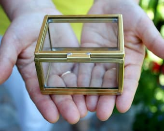 Glass ring box/ Glass eco style box / Glass box / Geometry box / Jewelry box