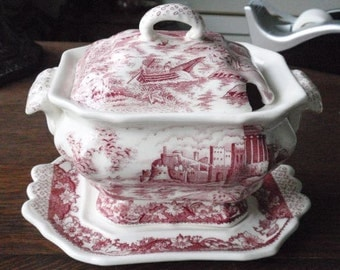 Red Transferware Porcelain Soup Tureen