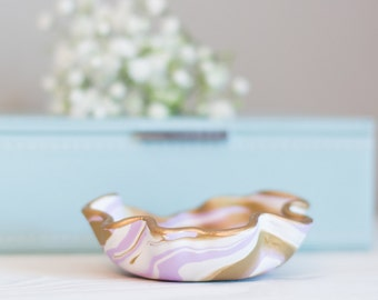 Light Purple and Gold Marbled Clay Ring Dish, Light Purple and Gold Jewelry Storage, Modern Jewelry Dish, Marbled Clay Ring Dish