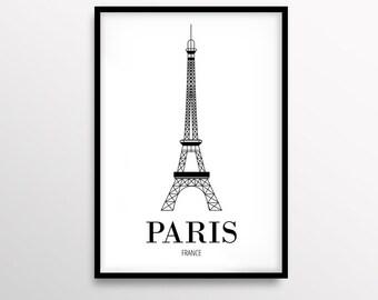 Paris Print, Travel Printable Poster, Minimalist Art, Fashion Print, Black & White, Eiffle Tower Art, Modern Home Decor, Digital Download