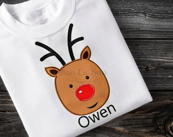 Reindeer Applique Embroidery Design Christmas