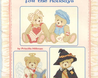 Cherished Teddies for the Holidays Counted Cross Stitch Leisure Arts Leaflet Vintage 1995