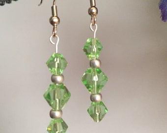 Drop Earrings-Green Color-Crystal-Beaded