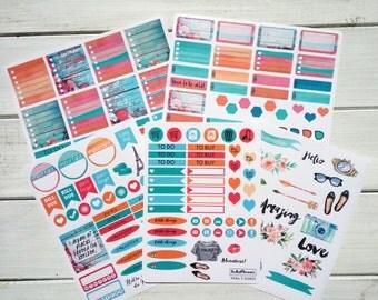 horizontal weekly kit, Planner stickers, weekly sticker, perfect for eclp horizontal, decorative sticker, filofax, kikki k weekly Vera hor