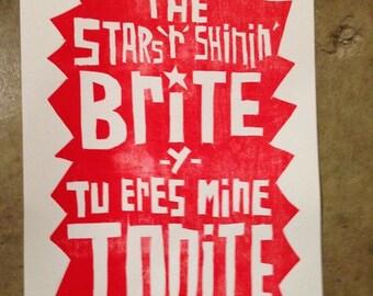 Letterpress 12x18: Stars R Shinin'