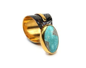 Oval Turquoise Ring. 925 sterling silver w 14k rose gold plated/white White pearl