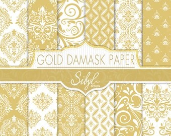 60% OFF SALE, Damask Digital Paper, Gold Damask Wedding Digital Paper, Gold and White Damask, Damask Craft Paper, Damask Scrapbook paper