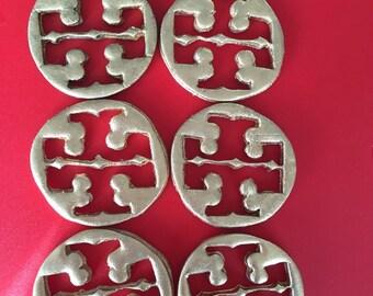 Fashion Design cupcakes toppers tory burch inspired gumpaste fondant/silver 1 dozen
