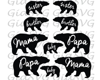 Bear SVG bundle, mama bear, papa bear, baby bear, right and left direction, ready to cut files for Cricut - Silhouette etc, family svg