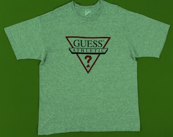 Guess T Shirt Guess Athletic T Shirt Vintage 90s Guess T Shirt Heather Grey Spell Out Medium Made in USA