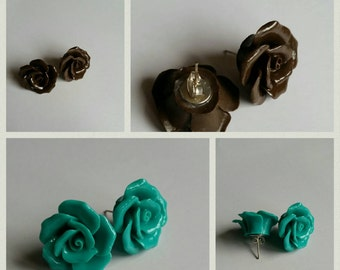 Rose earrings, large, teal, chocolate brown, butterfly back.