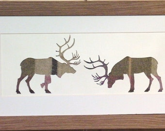 Scottish Art Rutting Stag Picture with Purple Tweed Material