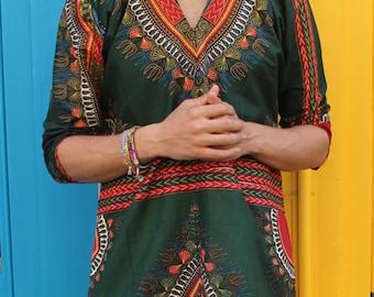 African Oversized Hoodie - Omar Oversized Hoodie - Longline Dashiki Hoodie - Dashiki - Festival Clothing