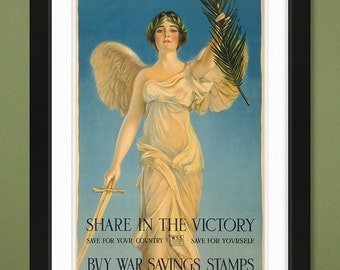 Share In The Victory – Buy War Savings Stamps – USA WWI Propaganda Poster (12x18 Heavyweight Art Print)