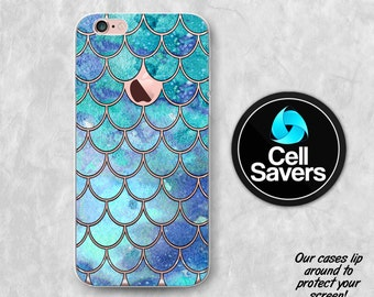 Mermaid Scales Clear iPhone 6s iPhone 6 iPhone 6 Plus iPhone 6s Plus iPhone 5c iPhone 5 SE iPhone 7 Plus Blue Mint Watercolor Mermaid Scales