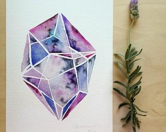 After Dark  Gem - Fine Art Giclee print - Watercolour painting - Geometric - A5 - Office art