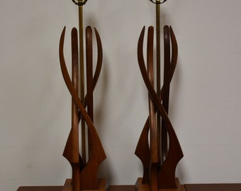 Sculpted Walnut Table Lamps- a pair