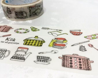 Kitchen planner sticker tape 3M kitchen ware washi tape cooking planner tape food party invitations cooking diary scrapbook mother gift