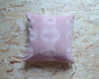 Shibori - Cushion organic hemp - natural dyeing madder / Organic hemp pillow - handyed with natural pigment madder