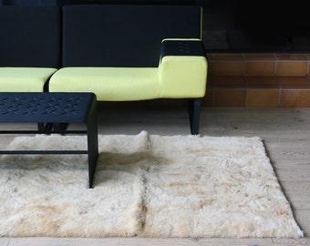 Peruvian 100% alpaca wool rug LATTE