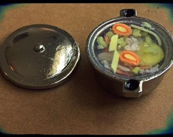 Polymer Miniature 1:12 Scale Veggie Dumpling Soup in the Pot