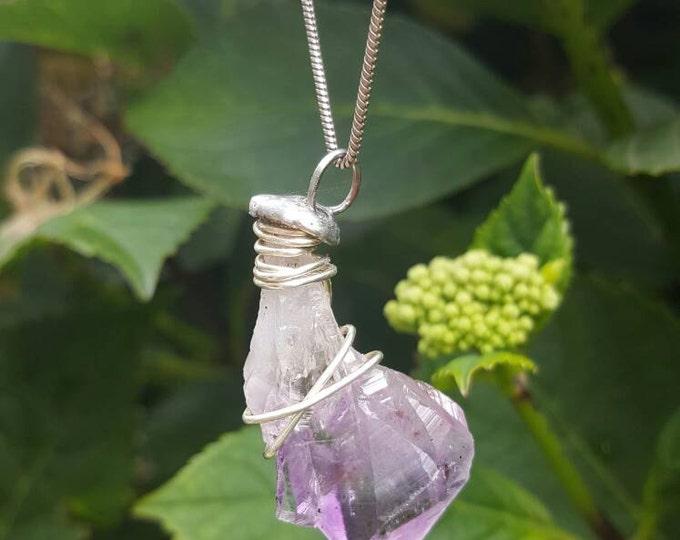 Raw Amethyst crystal necklace