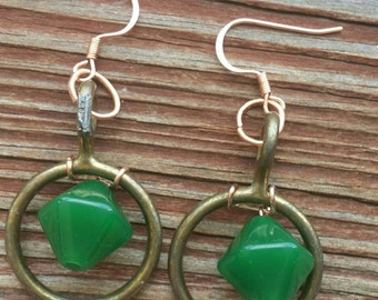 Antique Brass and Glass Earrings
