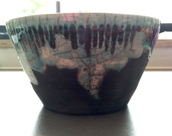 turquoise bowl with green / copper random stripes