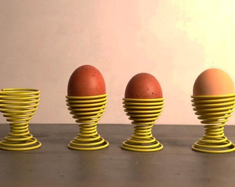Yellow vintage egg cups, Vintage wire egg holder, set of 4, coquetier fil, 70's