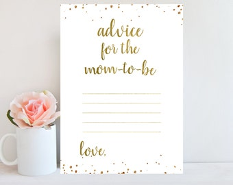 Advice for the Mom-To-Be Printable, Gold Confetti, Baby Shower Game Printable, Advice Card for Mommy, Instant Download BBSG1