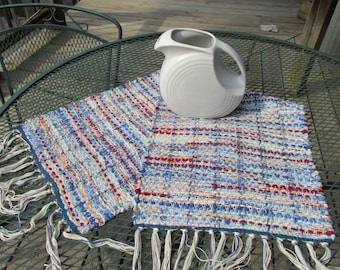 Rag runner, rag rug, table runner, hand woven, hand loomed, weaving, loom, dresser scarf, blue, red, orange