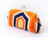 Orange Navy Blue Gold vintage Japanese Kimono Obi Clutch - travel purse