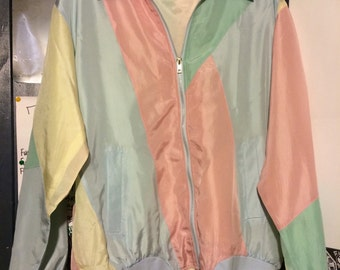 Vintage 80s Pastel Colorblock Windbreaker