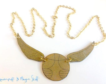 Hand Drawn Golden Snitch Necklace