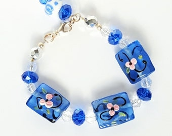 Blue Glass Beads & Pink Flowered Bracelet