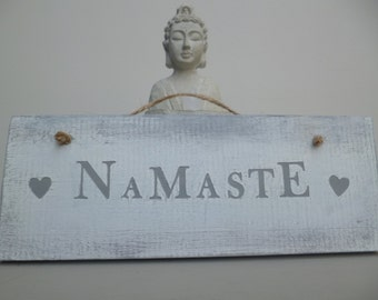Rustic Home Sign, Wooden Yoga Sign, Home Decor, Vintage Style Home Decor, Yoga Signage, Gift,Custom wood Sign, Namaste sign,Spiritual Sign