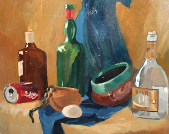 Vintage oil painting still life with bottles