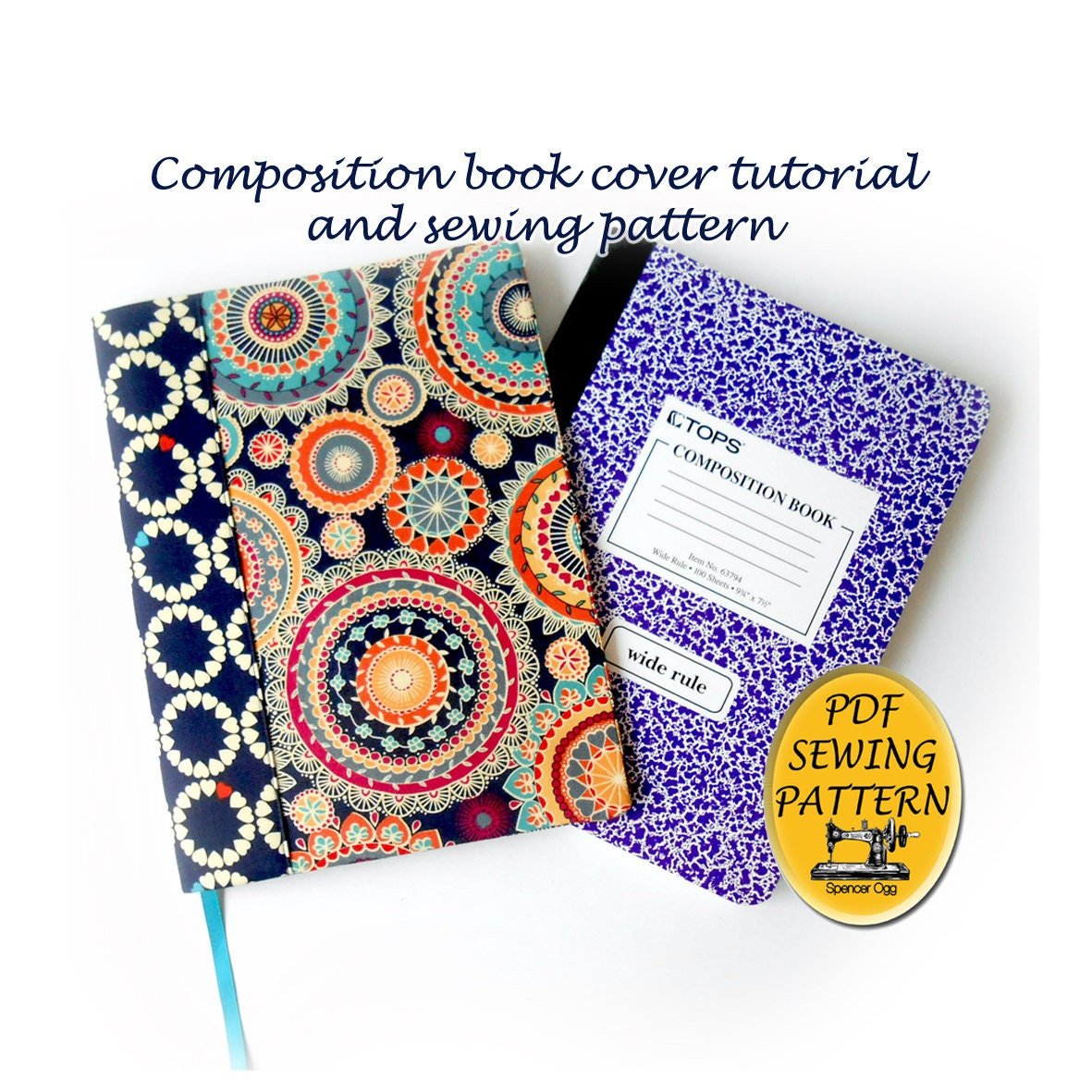 Sewing A Book Cover Tutorial ~ Composition book cover pattern and tutorial notebook