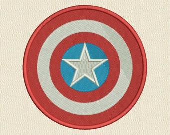 Captain America Shield Embroidery Design 4 sizes