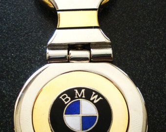 BMW 18K Gold Filled with Silver Trim Key Chain-Free Engraving