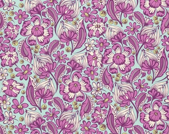 Tula Pink - Chipper - Wild Vines in Raspberry -pink and green cotton fabric flowers quilting cotton freespirit westminster